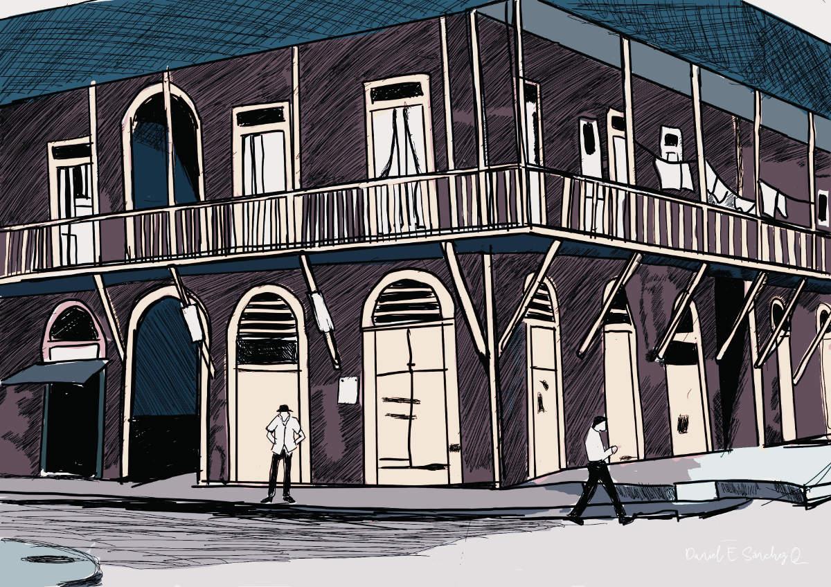Ilustración de la casa de madera de Calle 21